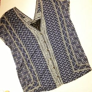 Lucky Brand Blue and Black Printed Short Sleeve
